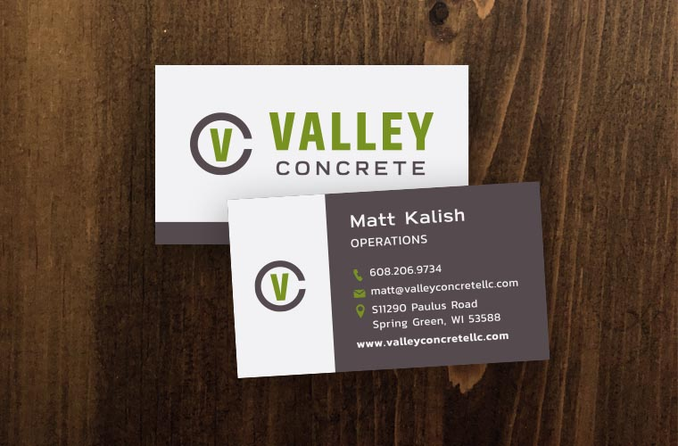Valley Concrete business cards
