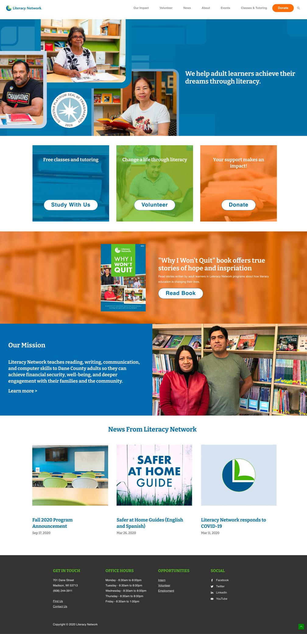 Literacy Network website design